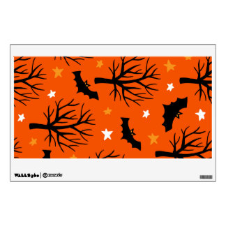 Spooky Halloween Tree with Bats and Stars Wall Sticker