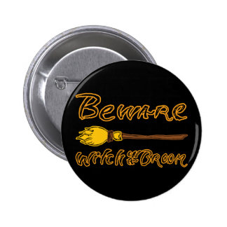 Spooky & Hand Drawn Beware: Witch on a Broom 2 Inch Round Button