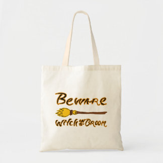 Spooky & Hand Drawn Beware: Witch on a Broom Tote Bag