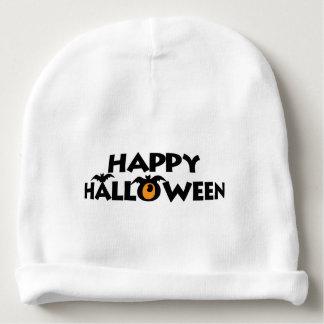 Spooky Happy Halloween Text with bats Custom Baby Beanie