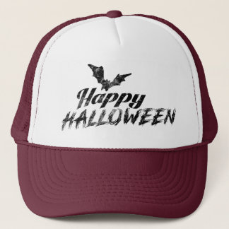 Spooky Happy Halloween Text with bats Trucker Hats