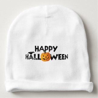 Spooky Happy Halloween Text with Pumpkin Custom Baby Beanie