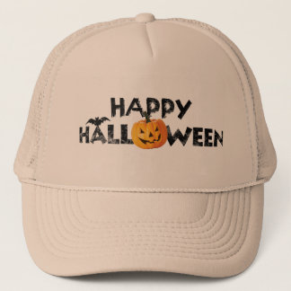 Spooky Happy Halloween Text with Pumpkin Trucker Trucker Hat