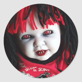 Spooky Haunted Doll Round Sticker