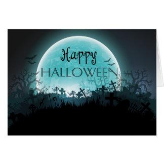 Spooky Haunted Graveyard Moon Halloween Card