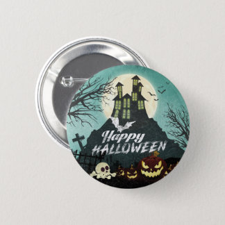 Spooky Haunted House Costume Night Sky Halloween 2 Inch Round Button
