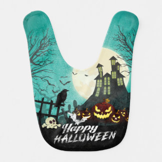 Spooky Haunted House Costume Night Sky Halloween Bib