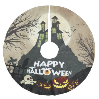 Spooky Haunted House Costume Night Sky Halloween Brushed Polyester Tree Skirt