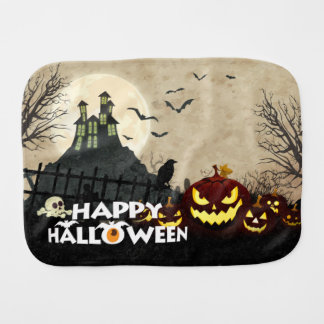 Spooky Haunted House Costume Night Sky Halloween Burp Cloth