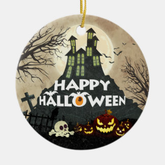 Spooky Haunted House Costume Night Sky Halloween Ceramic Ornament