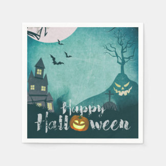 Spooky Haunted House Costume Night Sky Halloween Disposable Napkins