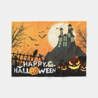 Spooky Haunted House Costume Night Sky Halloween Fleece Blanket