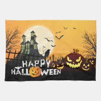 Spooky Haunted House Costume Night Sky Halloween Kitchen Towel