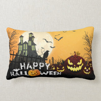 Spooky Haunted House Costume Night Sky Halloween Lumbar Pillow