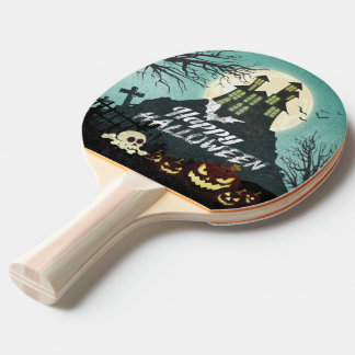 Spooky Haunted House Costume Night Sky Halloween Ping Pong Paddle