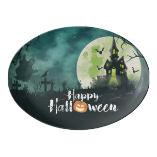 Spooky Haunted House Costume Night Sky Halloween Porcelain Serving Platter