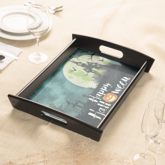 Spooky Haunted House Costume Night Sky Halloween Serving Tray