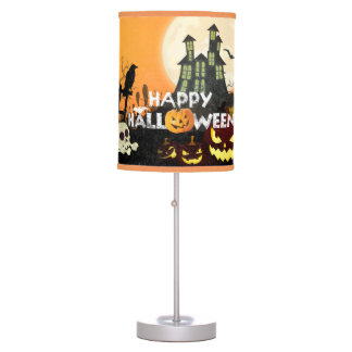 Spooky Haunted House Costume Night Sky Halloween Table Lamp