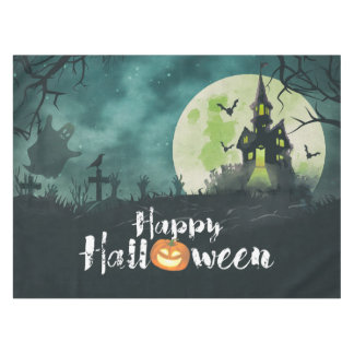 Spooky Haunted House Costume Night Sky Halloween Tablecloth