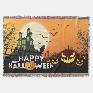 Spooky Haunted House Costume Night Sky Halloween Throw Blanket