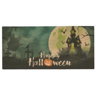 Spooky Haunted House Costume Night Sky Halloween Wood USB Flash Drive