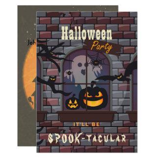 Spooky Haunted House Ghost, Bats & Jack-o-Lantern Card