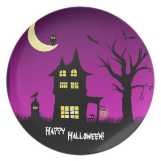 Spooky Haunted House Halloween Decorative Party Plates