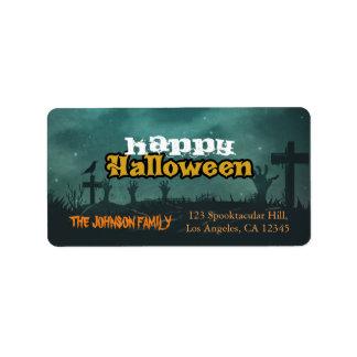 Spooky Haunted House Night Sky Halloween Address