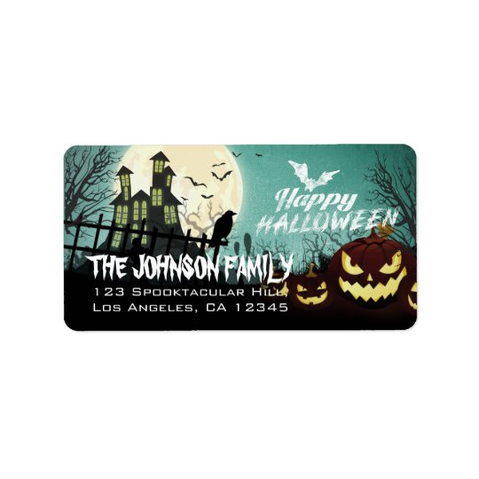 Spooky Haunted House Night Sky Halloween Address Label