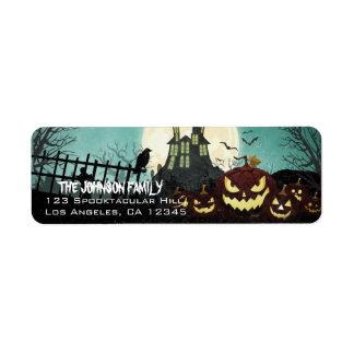 Spooky Haunted House Night Sky Halloween Address Return Address Label