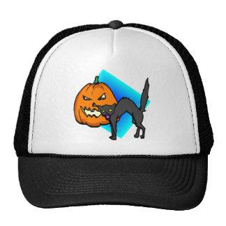 Spooky Jack o lantern Black Cat Trucker Hat