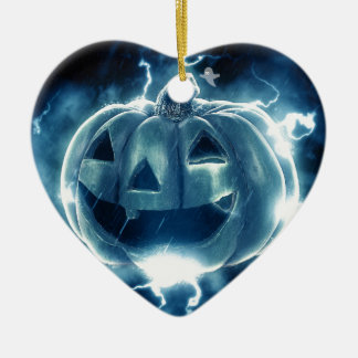 Spooky Jack-o-Lantern Ceramic Heart Ornament