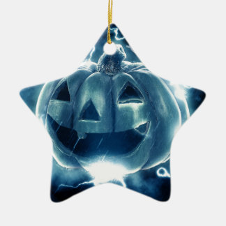 Spooky Jack-o-Lantern Ceramic Star Ornament