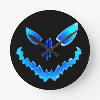 Spooky Jack O Lantern Face Wallclock