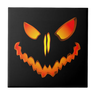 Spooky Jack O Lantern Face Tile