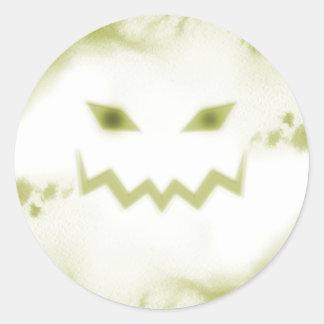Spooky Jack O Lantern Face Wht Yellow Round Sticker