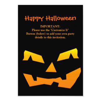 "Spooky Jack O Lantern Halloween Pumpkin Face 5"" X 7"" Invitation Card"