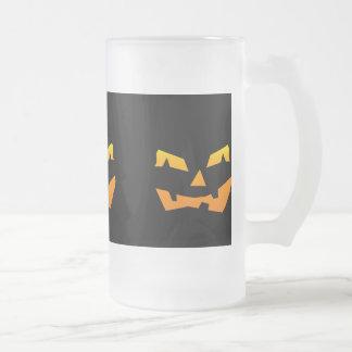 Spooky Jack O Lantern Halloween Pumpkin Face Glass Beer Mugs