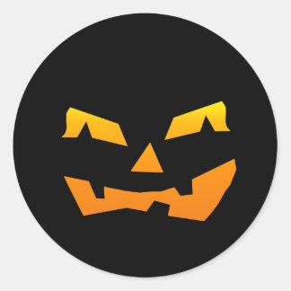 Spooky Jack O Lantern Halloween Pumpkin Face Round Sticker