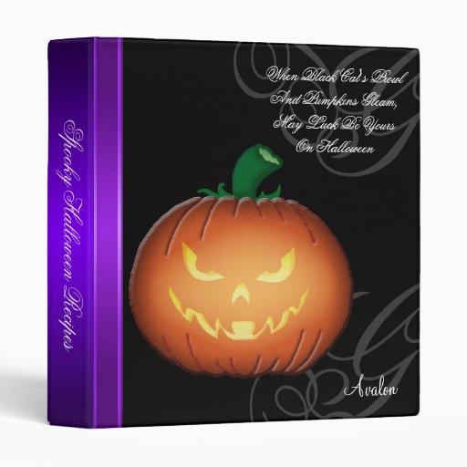 Spooky Jack O Lantern Halloween Recipe Binder