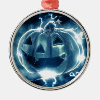 Spooky Jack-o-Lantern Silver-Colored Round Ornament