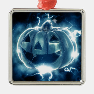 Spooky Jack-o-Lantern Silver-Colored Square Ornament