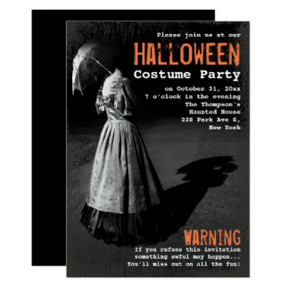 Spooky Lady without Head Unique Halloween Party Card