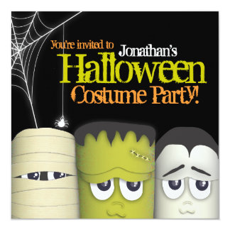 "Spooky Monster & Friends Halloween Costume Party 5.25"" Square Invitation Card"