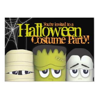"""Spooky Monster & Friends Halloween Costume Party 5"""" X 7"""" Invitation Card"""