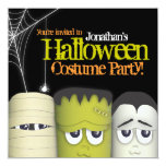 """Spooky Monster & Friends Halloween Costume Party 5.25"""" Square Invitation Card"""
