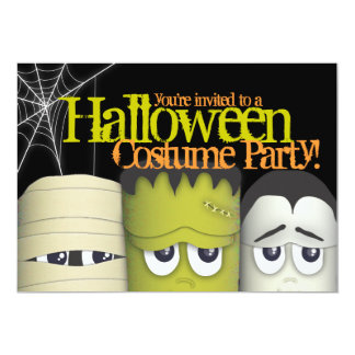 """Spooky Monsters & Mummy Halloween Costume Party 5"""" X 7"""" Invitation Card"""
