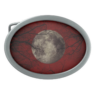 Spooky Moon Halloween Prints Oval Belt Buckle