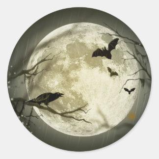 Spooky Night Moon Tree Autumn Destiny Celebration Classic Round Sticker