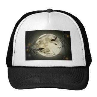 Spooky Night Moon Tree Autumn Destiny Celebration Mesh Hats